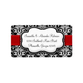 Ruban noir/blanc de rouge de damassé étiquettes d'adresse