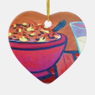 Rubber Chicken cereal Ceramic Heart Ornament