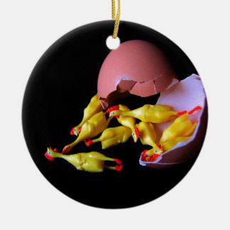 Rubber Chicken Hatchling Round Ceramic Ornament
