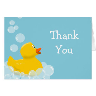 Rubber Duck and Bubbles Baby Shower Thank You Card