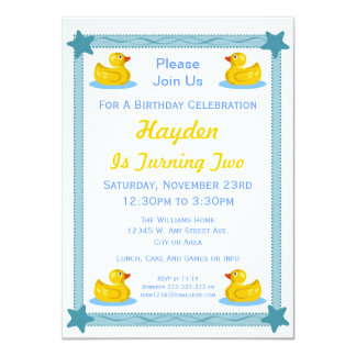 """Rubber Duck and Stars Kids Birthday Party 4.5"""" X 6.25"""" Invitation Card"""