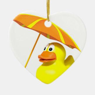 Rubber duck at the beach ceramic heart ornament