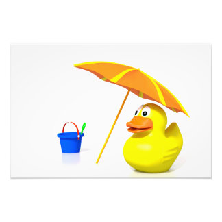 Rubber duck at the beach photographic print