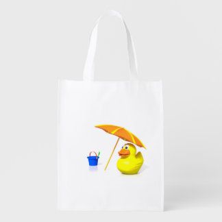 Rubber duck at the beach reusable grocery bag