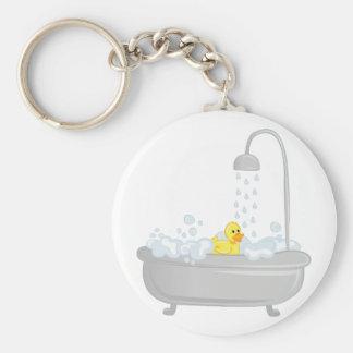 Rubber Duck Bath Basic Round Button Keychain