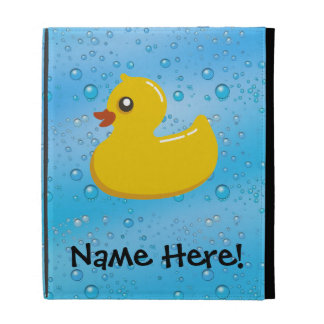 Rubber Duck Blue Bubbles Personalized Kids iPad Case
