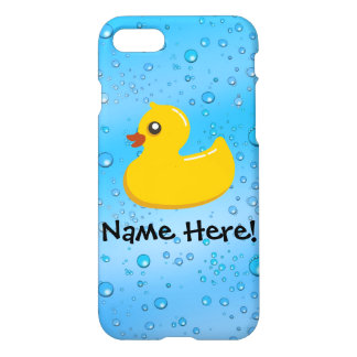 Rubber Duck Blue Bubbles Personalized Kids iPhone 8/7 Case