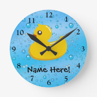 Rubber Duck Blue Bubbles Personalized Kids Round Clock