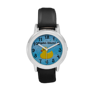 Rubber Duck Blue Bubbles Personalized Kids Watches