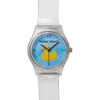Rubber Duck Blue Bubbles Personalized Kids Watch