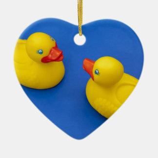 Rubber Duck Ceramic Heart Ornament