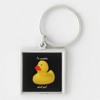 Rubber duck cute fun yellow keyring, keychain