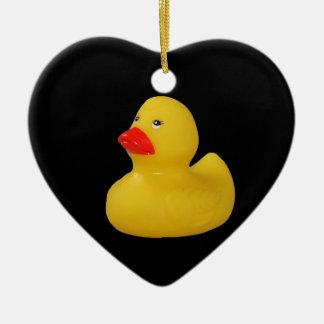 Rubber duck cute fun yellow ornament, gift idea ceramic heart ornament