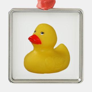 Rubber duck cute fun yellow ornament, gift idea Silver-Colored square ornament