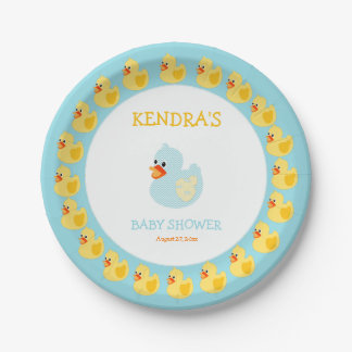 Rubber Duck Ducky Gender Neutral Paper Plate