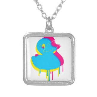 Rubber Duck Graffiti Pop Art Rubber Ducky Silver Plated Necklace