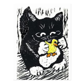 Rubber Duck & Kitten, Block Print Postcard