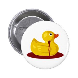 Rubber Duck Neck Shot - Bleeding Rubber Ducky 2 Inch Round Button