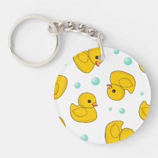 Rubber Duck Pattern Round Acrylic Key Chain