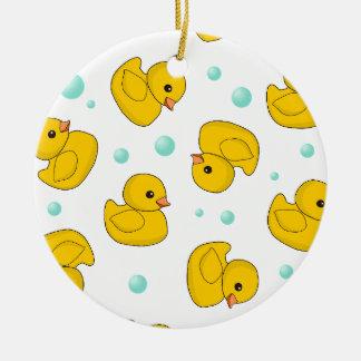 Rubber Duck Pattern Round Ceramic Ornament