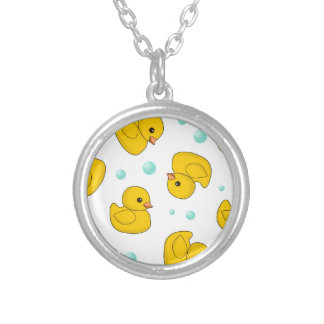 Rubber Duck Pattern Round Pendant Necklace