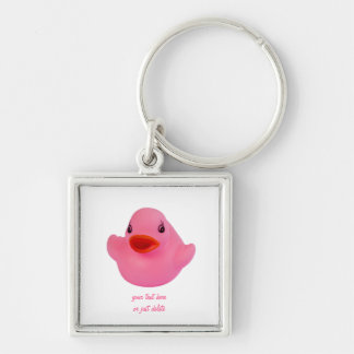 Rubber duck pink cute fun custom keychain, gift Silver-Colored square keychain