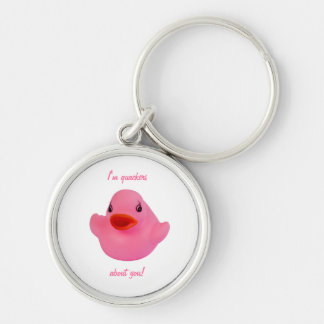 Rubber duck pink cute fun custom keychain, gift Silver-Colored round keychain