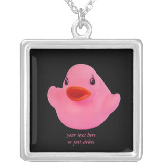 Rubber duck pink cute fun custom necklace gift
