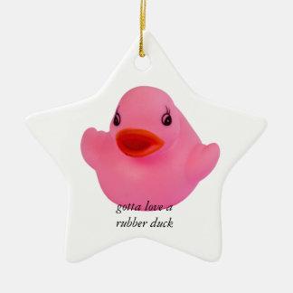 Rubber duck pink cute fun custom ornament, gift ceramic star ornament