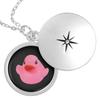 Rubber duck pink cute fun locket,  necklace gift