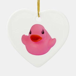 Rubber duck pink cute fun ornament, gift ceramic heart ornament