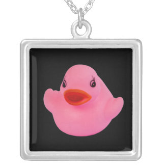 Rubber duck pink cute fun pendant,  necklace gift