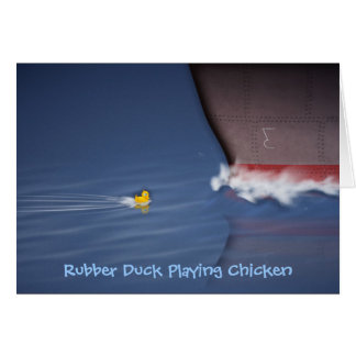 Rubber Duck Playing Chicken Card