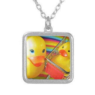 Rubber duck silver plated necklace