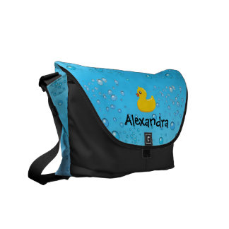 Rubber Duck with Bubbles, Blue Water Custom Diaper Commuter Bags