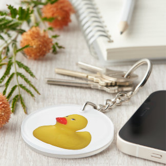 Rubber duck yellow cute fun novelty photo, gift Double-Sided round acrylic keychain