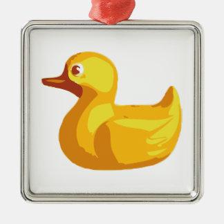 Rubber Duckie Silver-Colored Square Ornament