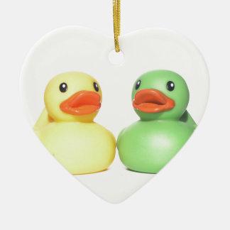 Rubber Ducks Ceramic Heart Ornament