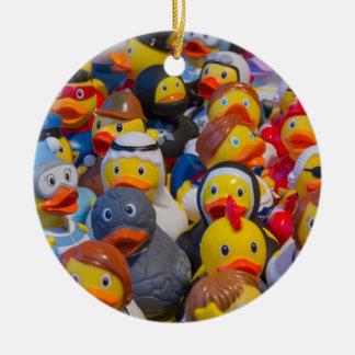 Rubber Ducks Round Ceramic Ornament