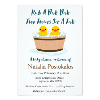 Rubber Ducks Swimming in a Tub Twins Baby Shower Card