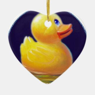 Rubber Duck's Vacation Ceramic Heart Ornament