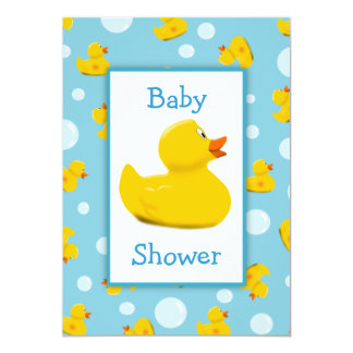 """Rubber Ducky and Bubbles Theme Baby Shower 5"""" X 7"""" Invitation Card"""
