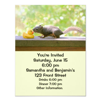 Rubber Ducky and Squirrel Kissing 4.25x5.5 Paper Invitation Card