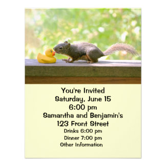 Rubber Ducky and Squirrel Kissing Invitations