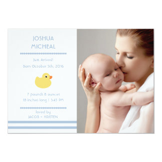 "Rubber Ducky Baby Boy Birth Announcements 5"" X 7"" Invitation Card"