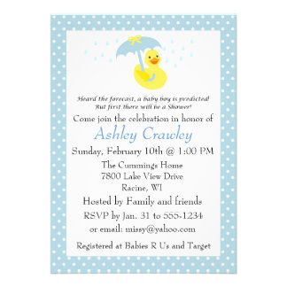 Rubber Ducky Baby Boy Shower invite - customize