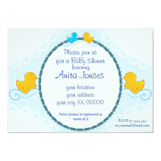 "rubber ducky baby shower card 5"" x 7"" invitation card"