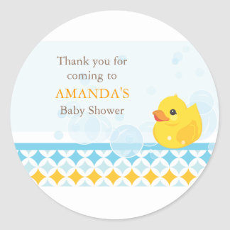 Rubber Ducky Baby Shower Favor Sticker
