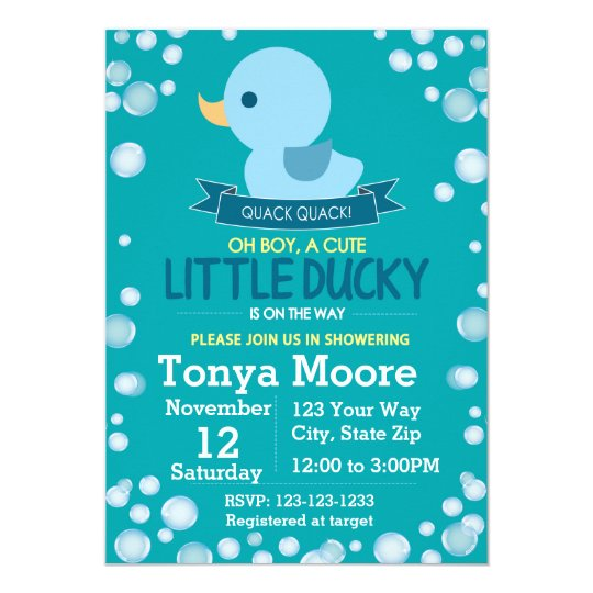 Rubber Ducky Baby Shower Invitation (boy)