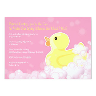 Rubber Ducky - Baby Shower Invitation - Pink!